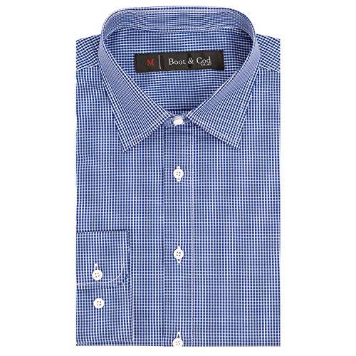 Boot & Cod Men's Blue Micro Windowpane Check Fitted Long Sleeve Button Down Dress Shirt - (Windowpane Check Shirt)