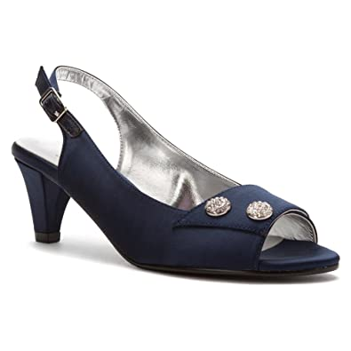 David Tate Womens Party Sandal, Navy Satin-9