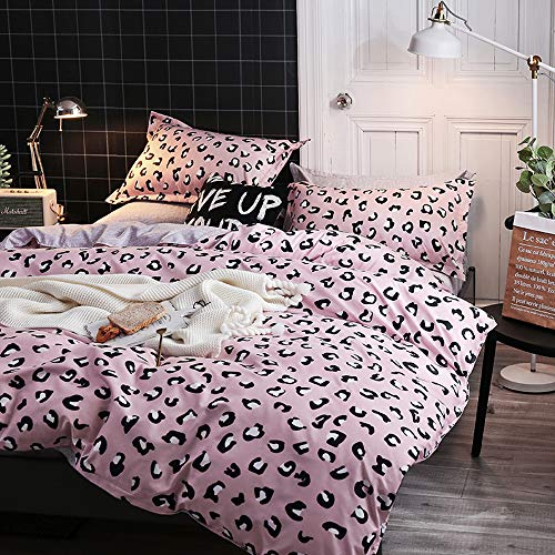 Duvet Cover Set Queen Bedding Set Pink Lepord Ultra Soft & Easy Care Simple Style Bedding Duvet Cover/qulit Cover Set(1 Duvet Cover & 2 Pillowcase) Zipper Ties