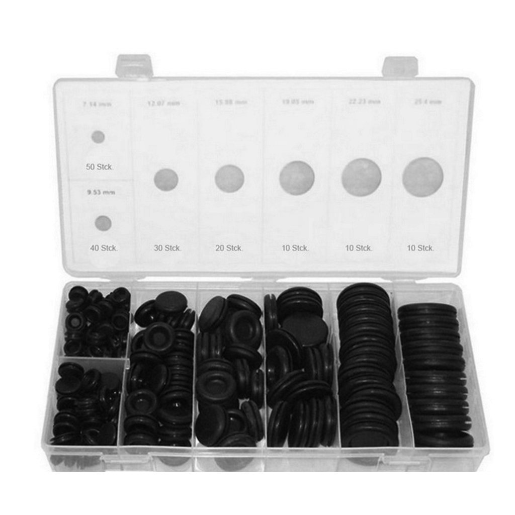 BIlinli 170 Rubber Grommet Assortment Firewall Hole Plug Set Electrical Wire Gasket Kit