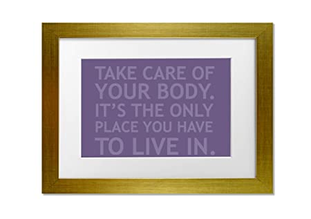 Living Colors Quotes Take Care Of Your Body Lilac A3 Framed Art