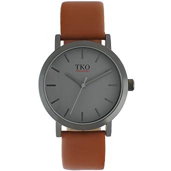 TKO - moderno en todo el mundo viajero funda de pistola mate gris cara marrón piel banda reloj: Amazon.es: Relojes