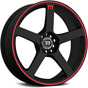 "Motegi Racing MR116 Matte Black Finish Wheel with Red Accents (17x7""/5x100mm)"