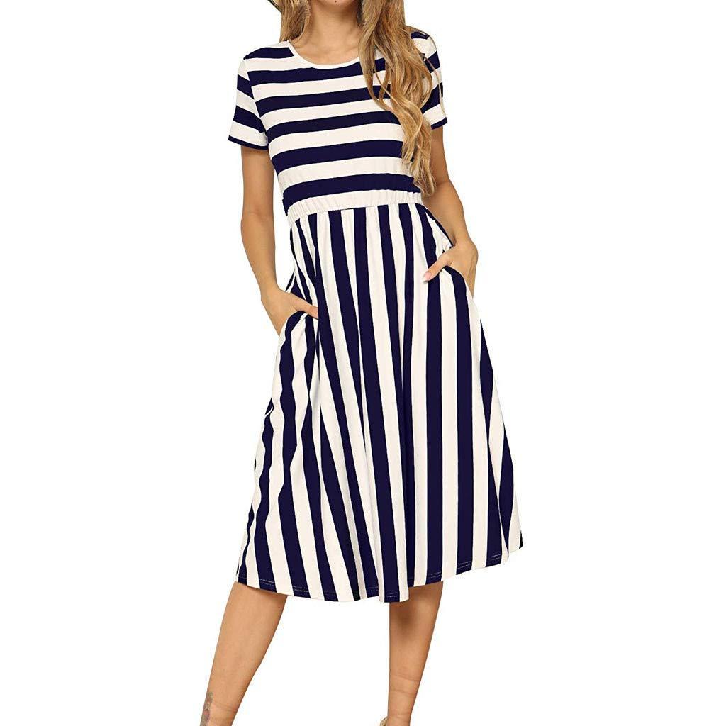 LONGDAY Women Midi Dress, Summer Crew Neck Striped T-Shirt Short Sleeves Casual Shirt Swing Knee Length Dress Pocketed Blue by LONGDAY-Women Dresses