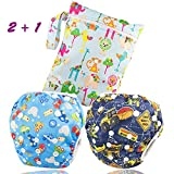 Image of Dwave 2pcs Pack One Size Baby & Toddler Reusable Washable Swim Diapers (Trucks)