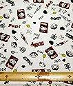 レトロ風ペコちゃん柄☆コットン&リネン プリント生地(生成)■50cm単位■の商品画像