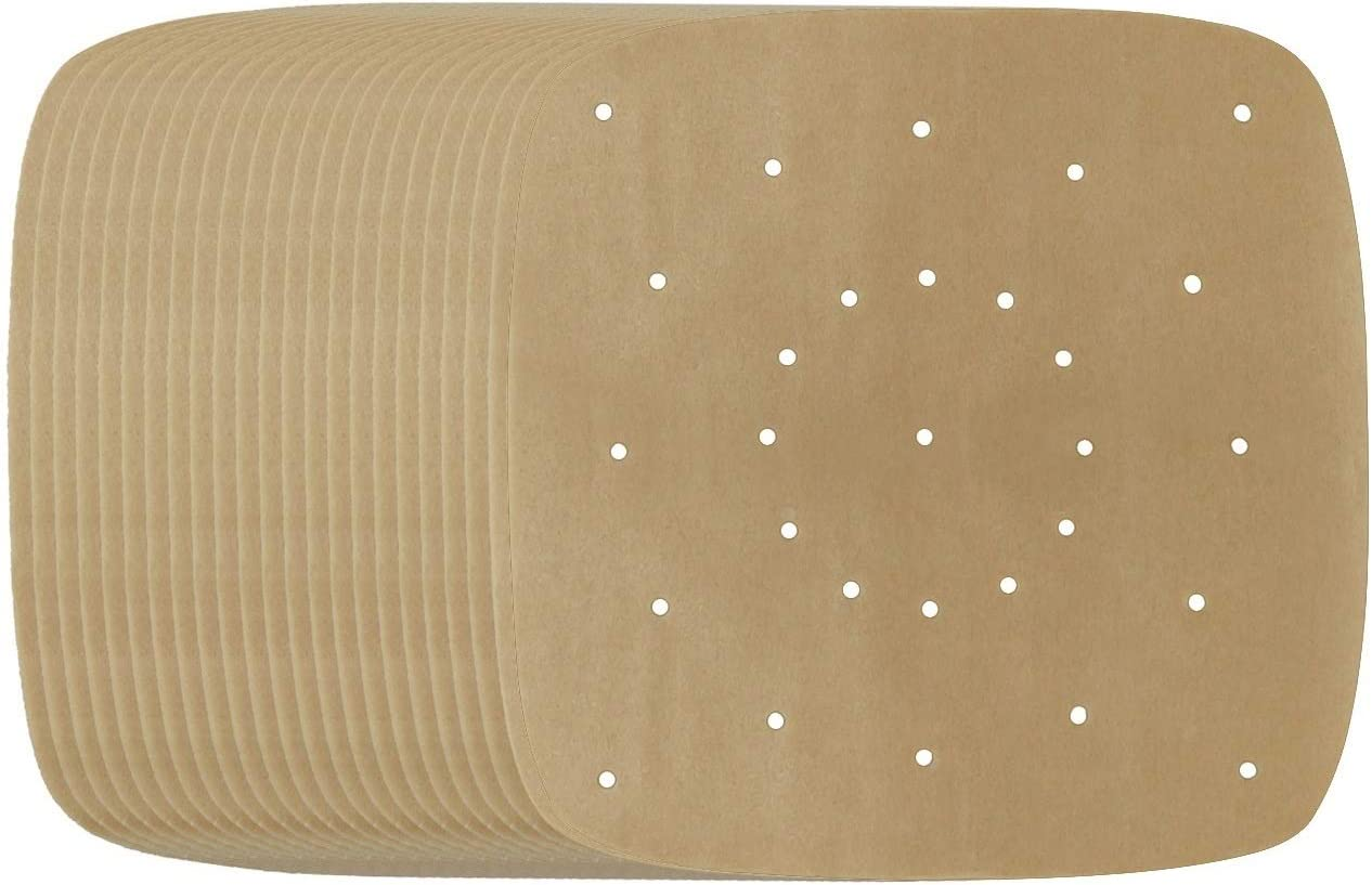 200pcs Air Fryer Parchment Paper - 8.5 inch Perforated Unbleached Air Fryer Liners/Square Parchment Liner for Air Fryer, Steaming Basket and More