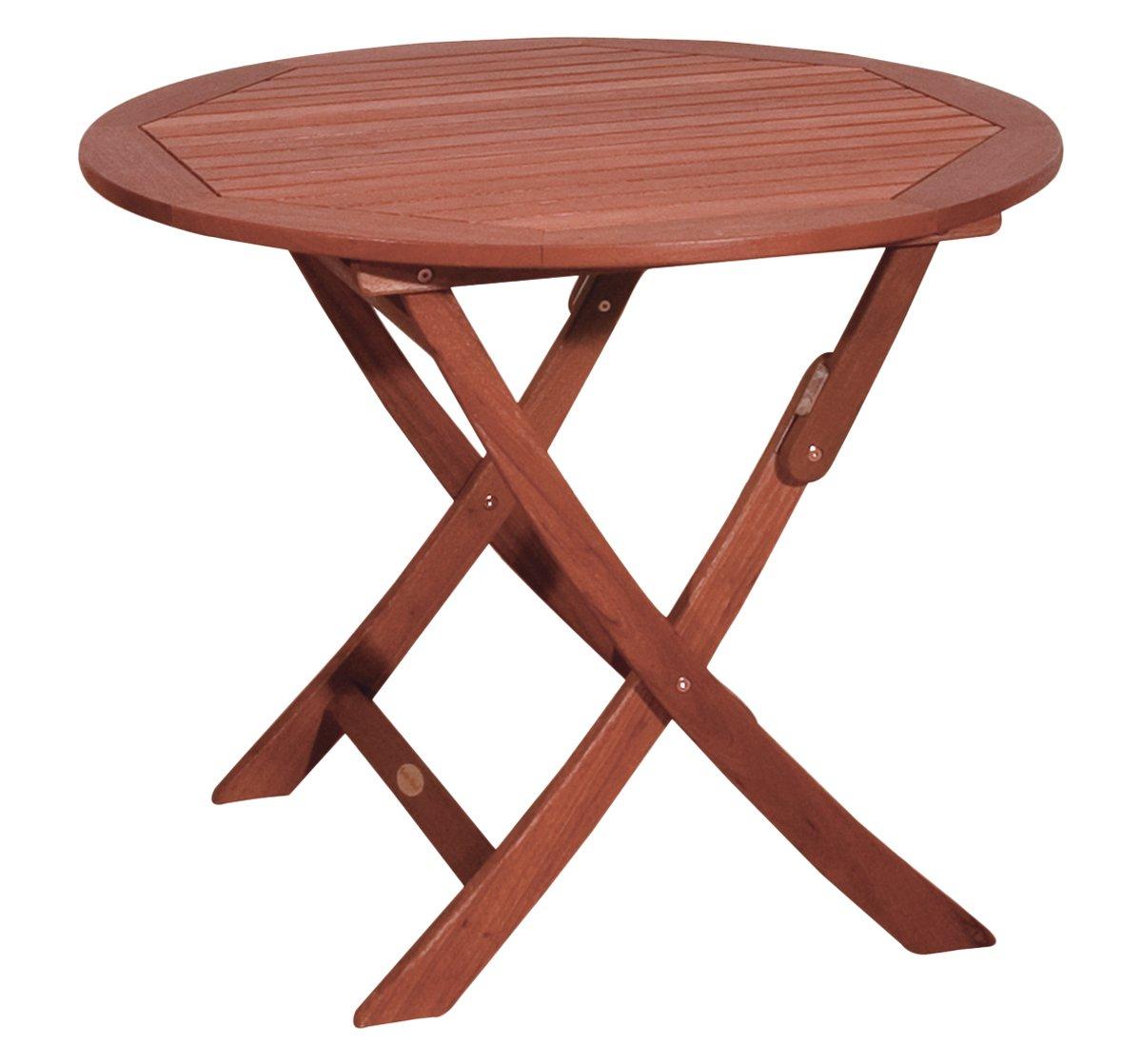 Gravidus klappbarer Gartentisch aus Eukalyptusholz, ca. 90 cm Durchmesser