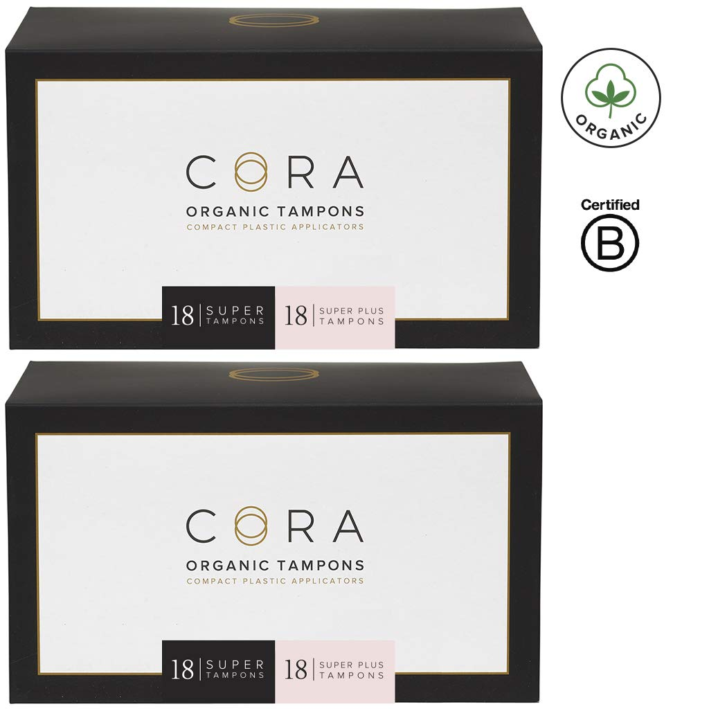 Cora Organic Cotton Tampons with BPA-Free Plastic Compact Applicator; Chlorine & Toxin Free - Variety Pack - Super/Super Plus (72 Count)