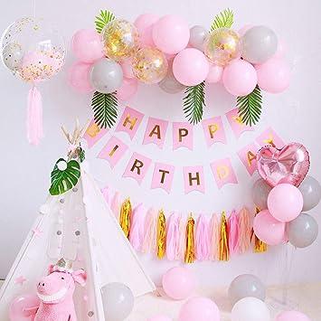 SPECOOL Decoraciones de Cumpleaños para Niña, Globos de Fiesta de Feliz Cumpleaños Rosa con Pancarta, Borla de Papel, Globos de Látex para Fiesta de ...