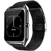 Redlemon Smartwatch Reloj Inteligente Bluetooth con Ranura para Chip SIM, Recibe Llamadas, Cámara, Notificaciones de Mensajes y Redes Sociales, Correa de Acero Inoxidable, Android y iOS, Z60, Negro