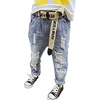 NABER Pantalones vaqueros rasgados de moda para niños, cintura elástica, ajustados, edad 4-13 años
