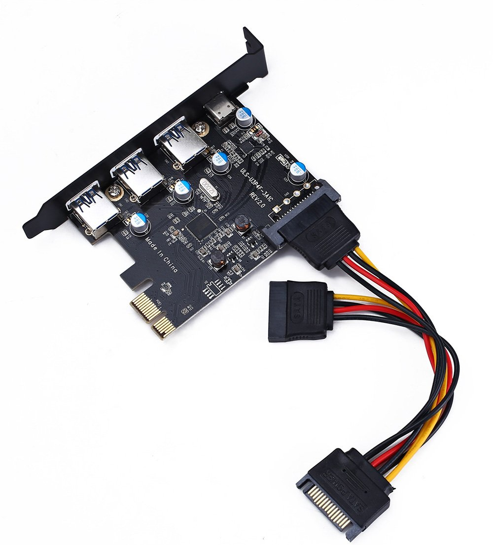 3 Type A Expansion Card PCI-E to USB 3.0 Type C Interface USB 3.0 4-Port Express Card Desktop with 15 pin SATA Power Connector Include with A 4pin to 2x15pin Cable + A 15pin to 2x 15pin SATA Y-C