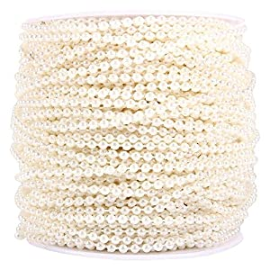 GLOGLOW Beige/White Pearl Beads Chain,3mm Artificial Pearl Beads Bulk with Fishing Line for Wedding Centerpieces Garland Decorations, 50M/Roll 48