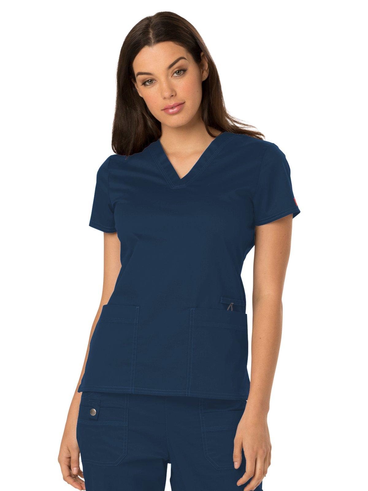 Dickies Gen Flex by Women's V-Neck Solid Scrub Top Small Navy