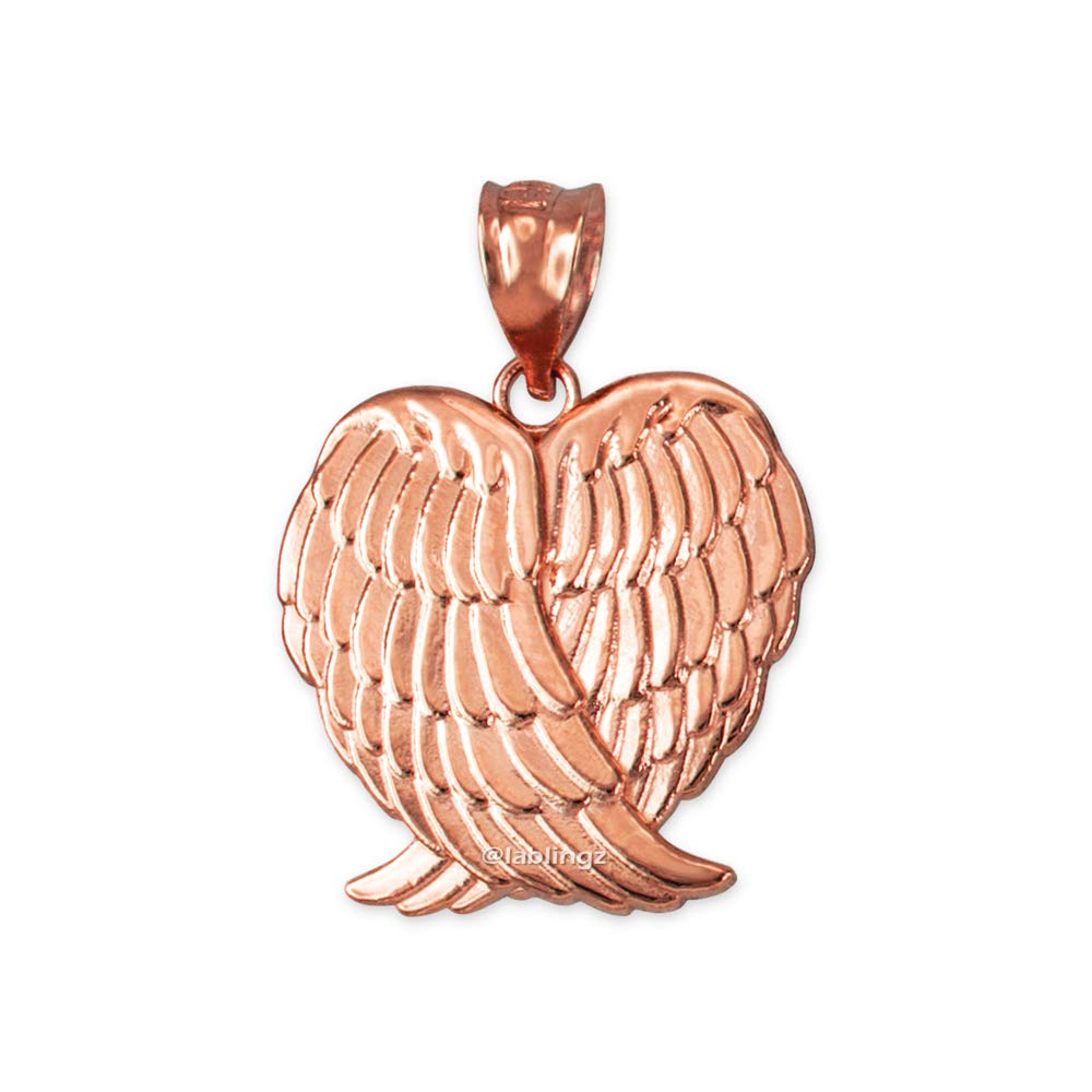 LA BLINGZ 10K Rose Gold Angel Wings Pendant Necklace