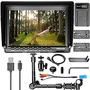 Neewer 7 inch NW759 HD Camera Monitor Kit:(1)1280x800 IPS Screen Camera Field Monitor+(1)11.8 inches Magic Arm+(1)USB Battery Charger+(2)F550 Replacement Battery for Sony Canon Nikon