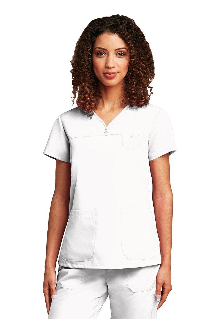 Grey's Anatomy 41340 Junior 3 Pocket V-Neck White 2X