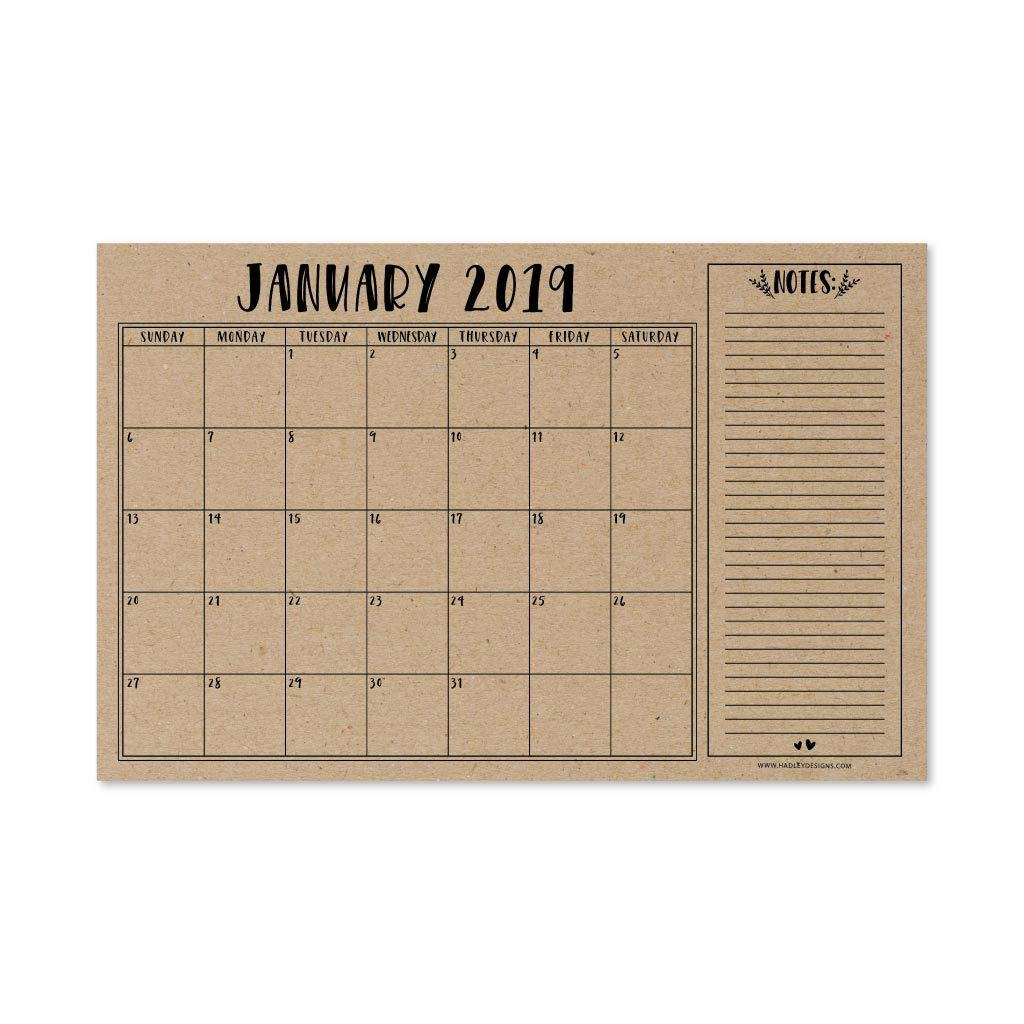 Rustic 2019-2020 Large Monthly Desk or Wall Calendar Planner, Big Giant Planning Blotter Pad, 18 Month Academic Desktop, Hanging 2-Year Date Notepad Teacher, Mom Family Home Business Office 11x17''