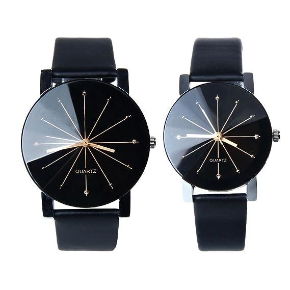 Pareja Reloj, Kfnire 1pair hombres y mujeres cuero sintético caso redondo cuarzo analógico par reloj negro: Amazon.es: Relojes