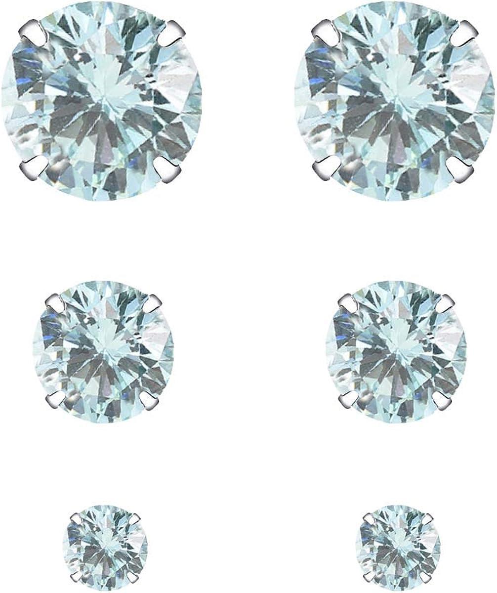 YOURDORA 3 Pares Plata de Ley 925 Pendientes Tous Mujer con Cristal de Swarovski Sencillo Joyería Elegante 3mm 5mm 7mm