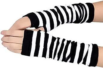 JUNGEN® Guantes largos de mujer Guantes sin dedos Mitones de Algodón de punto caliente, Patrón de rayas: Amazon.es: Ropa y accesorios