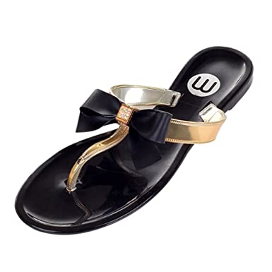 2786fb1ee3c506 Gleader Womens Ladies Toe Bow Diamante Jelly Summer Flat Flip Flop Thong  Sandals Black Size Uk