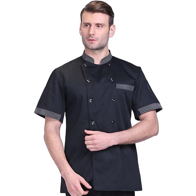 ... Manga Corta Camisa de Cocinero Moda Doble Botonadura Chaquetas de Chef  Uniforme Cocina Restaurante Occidental Negro 3XL  Amazon.es  Ropa y  accesorios 00eda423092