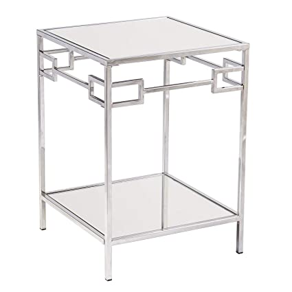 online store 05174 13afe Amazon.com: Mirrored Glass Side Table - Chrome Side Table ...