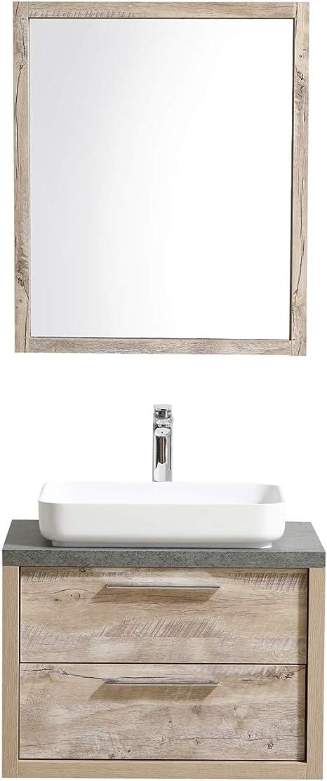 Badezimmer Badmobel Indiana 70 Cm Nature Wood Unterschrank Schrank Waschbecken Spiegel Amazon De Kuche Haushalt