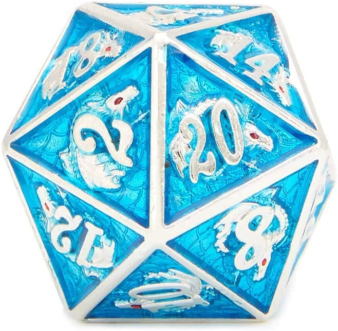 7-Die Polyhedral Dice Set Copper Gragon with Enamel Light Blue for DND RPG MTG Dungeon and Dragons Table Roll Playing Games