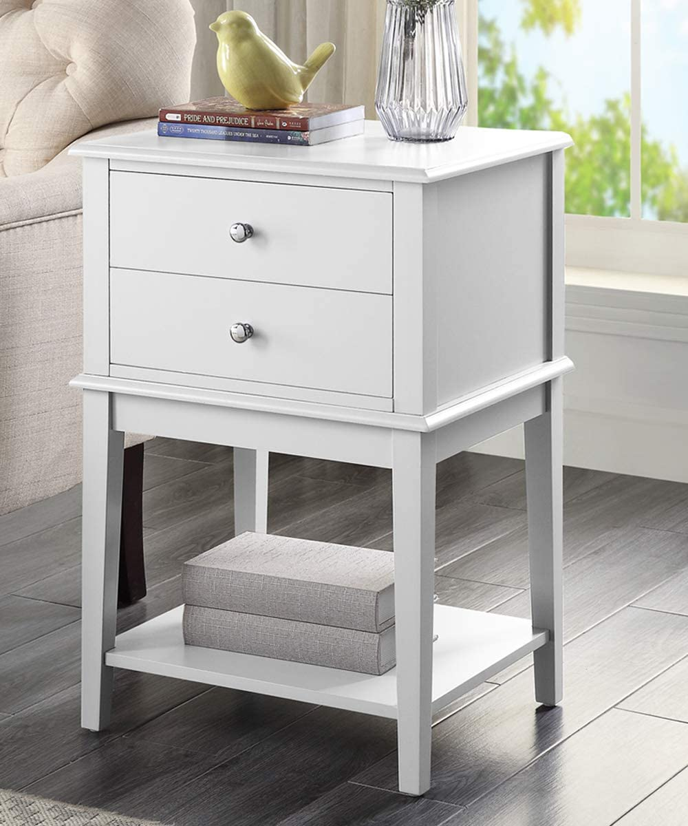 Linio-home White Nightstand, Small End Table for Bedroom, Bed Side Table with Drawers, Bedside Table Accent Table, Small Night Stands for Bedrooms, Wooden Sofa Storage Stand Cabinet, White
