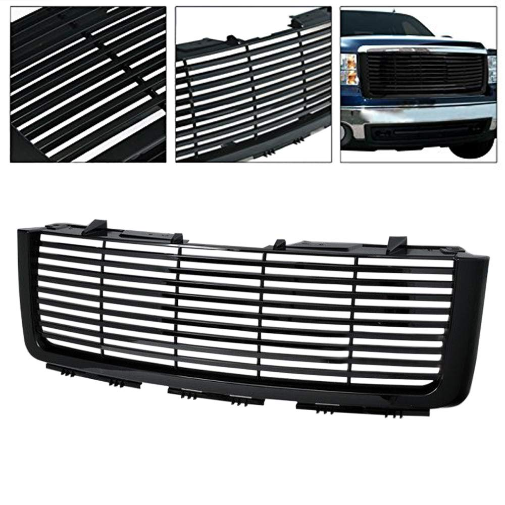 AA Products Front Grille Compatible Ford F150 2009 up to 2014 Luxury Sport Mesh ABS Replacement Grille with Shell Gloss Black