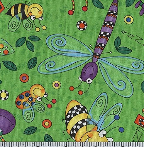 Timeless Treasures Happy Bugs Dance Lime Fabric By The Yard