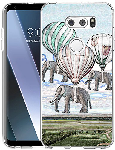 V30 Case Elephant/IWONE Designer TPU Rubber Durable Protective Replacement Cover for Compatible with LG V30S/V30 Plus/V30 + Creative Elephant Vintage Paintings Print Animal