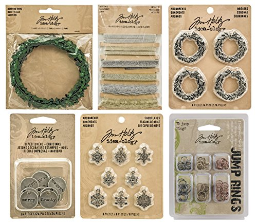 Tim Holtz Idea-ology Holiday - Wreaths, Metallic Trimmings, Boxwood Twine,Typed Christmas Tokens, Snowflake Adornments & Jump Rings (Tim Holtz Jump Rings)