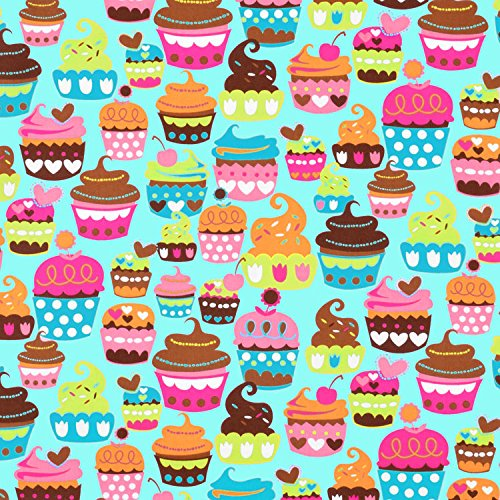 Cupcake Fabric (Michael Miller Sweet Treats Turquoise Fabric - By the Yard)