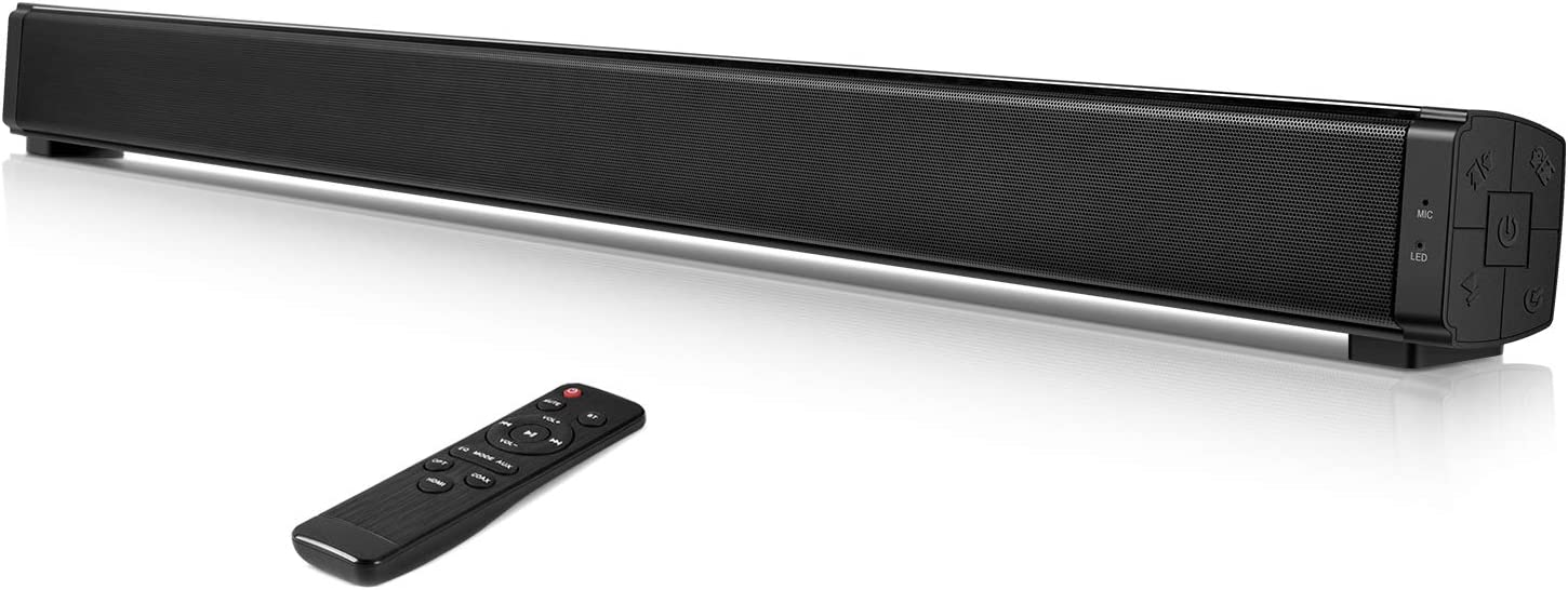Sound Bars for tv, 32 inch Soundbar with Built-in Subwoofer, Wired & Wireless Bluetooth 5.0 Home Theater Speaker, HDMI/Optical/Aux/Coaxial Connection, Wall Mountable, Remote Control