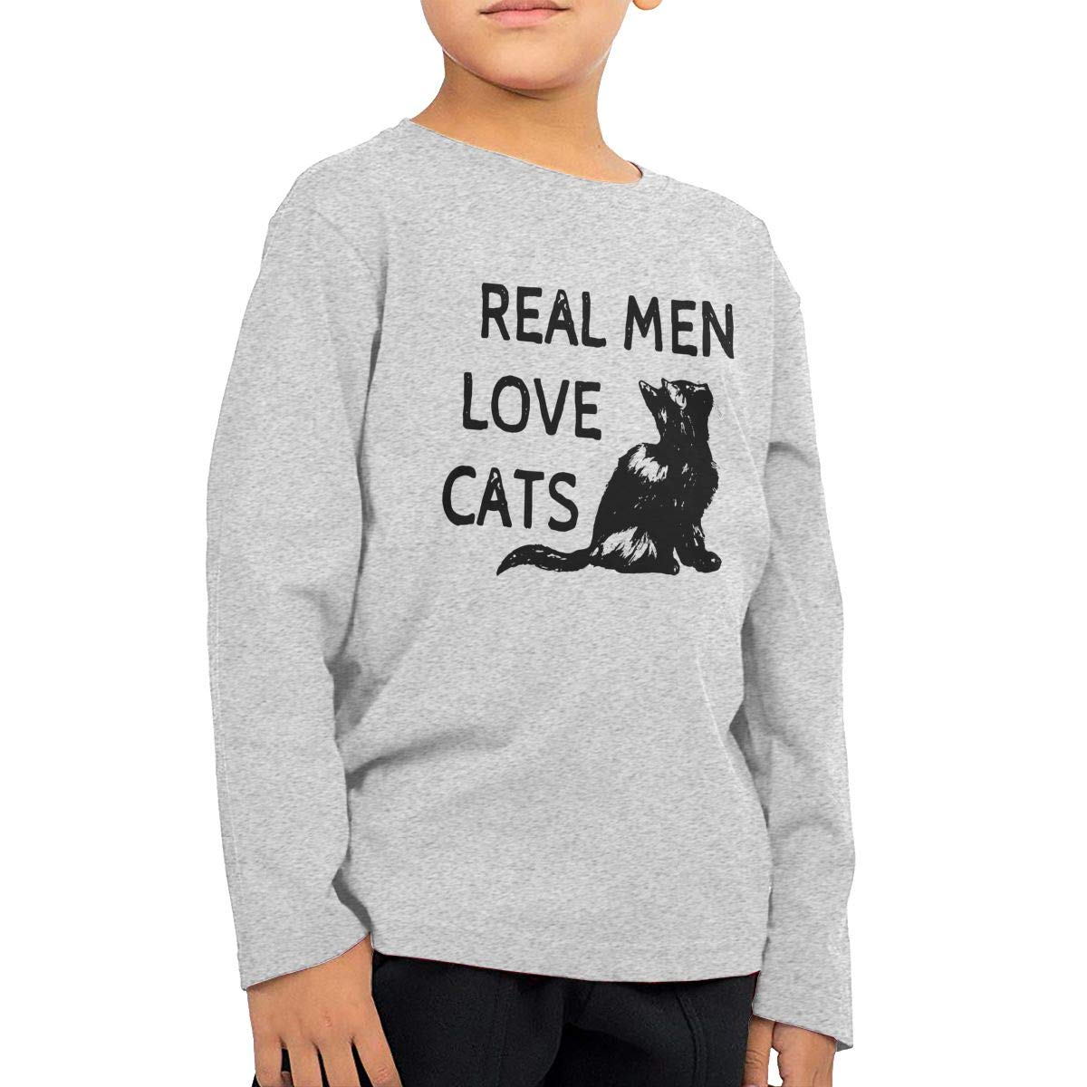 Real Men Love Cats Childrens Gray Cotton Long Sleeve Round Neck T Shirt for Boy Or Girl