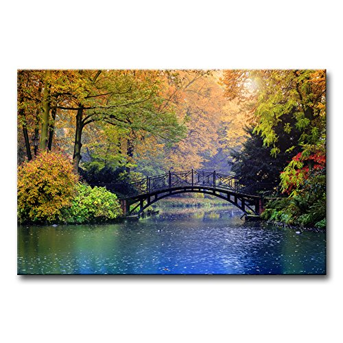 (Modern Canvas Painting Wall Art The Picture for Home Decoration Old Bridge Over Blue Lake in Autumn Misty Park with Colourful Trees Landscape Forest&Lake Print On Canvas Giclee Artwork for Wall Decor)