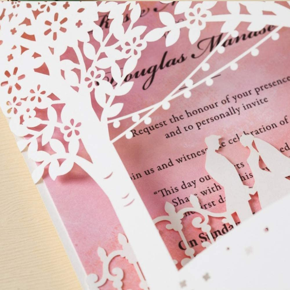 50 Pieces Jofanza Wedding Invitations Cards with White Laser Cut Bride and Groom Tree Printable Pink Inner Card for Marriage Birthday Party Bridal Shower