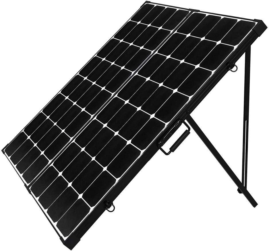 Renogy 200 Watt 12 Volt Eclipse Monocrystalline Off Grid Portable Foldable Solar Panel Suitcase Built-in Kickstand, black