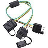 MICTUNING Universal 4 Way Flat Y-Splitter Plug and Play Adapter Extension Harness for LED Tailgate Light Bar and Trailer…