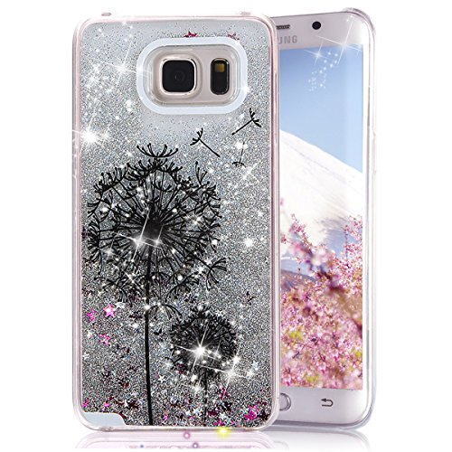 Galaxy S6 Edge Plus Case, Crazy Panda Creative Design Glitter Shiny Quicksand Sparkle Stars and Flowing Liquid Transparent Plastic Case for Samsung Galaxy S6 Edge Plus - Silver Dandelion