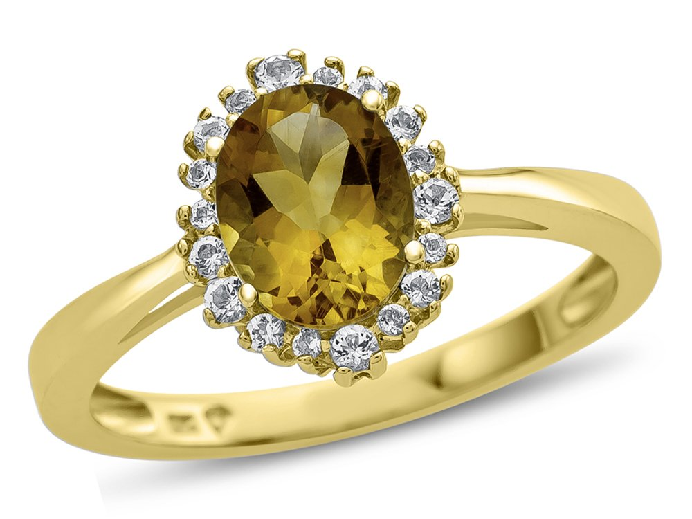 10k Yellow Gold 8x6mm Oval Citrine with White Topaz accent stones Halo Ring Size 6