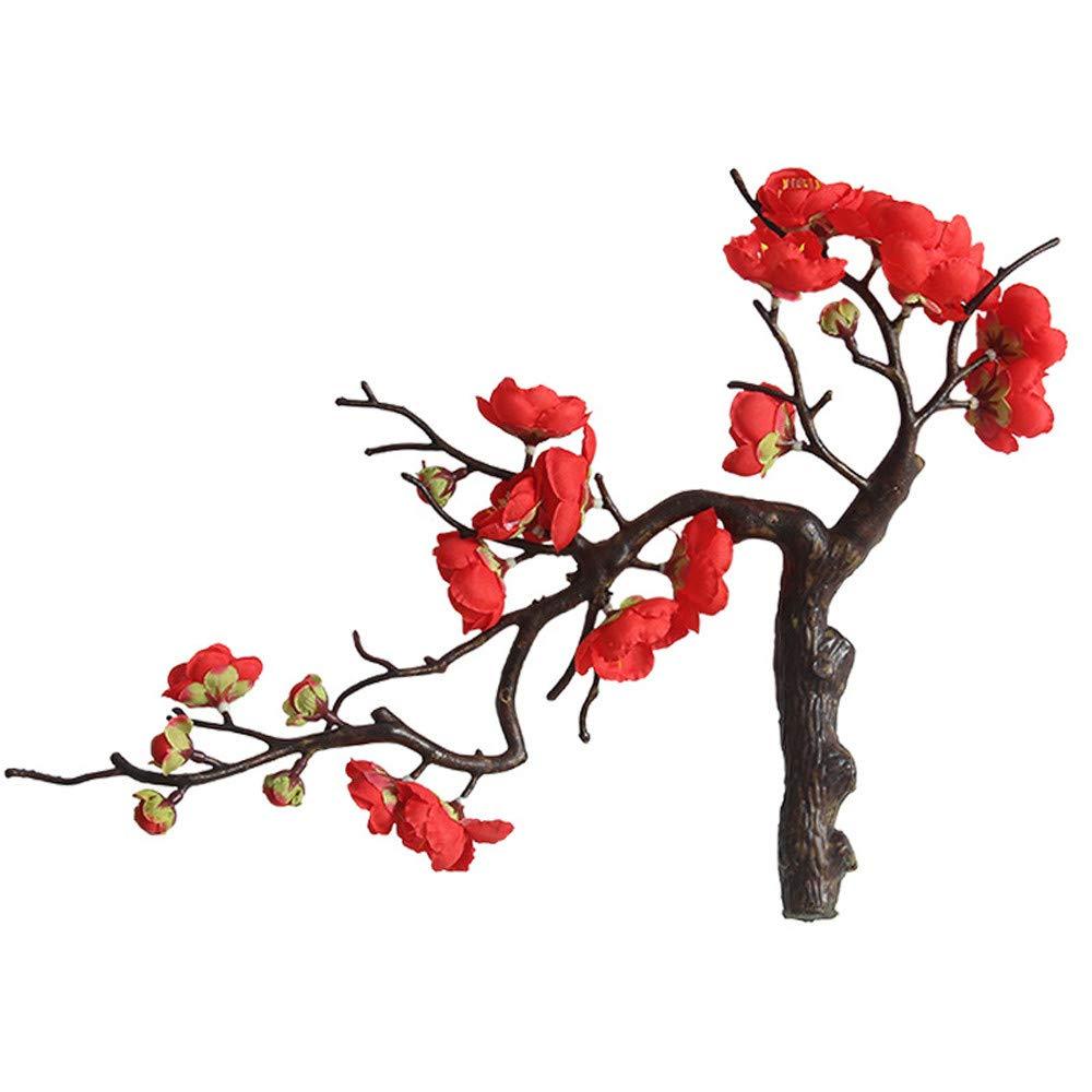 Creazy 人工シルク フェイクフラワー 梅の花 花 結婚式 ブーケ パーティー 装飾 レッド B07H8J4M5N レッド