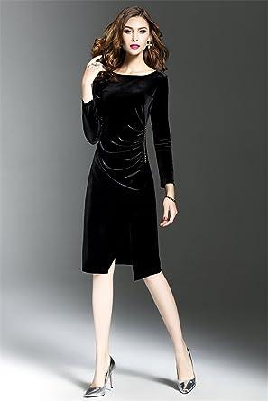 Enfuso Women Velvet Dresses Plus Size Slimming Fashion Party Dress