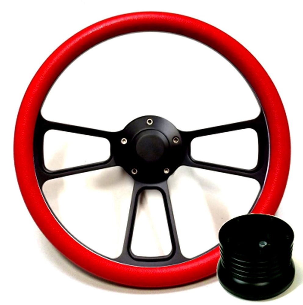 Hot Rod Street Rod Rat Rod Truck Red Black Steering Wheel, Horn Adapter New World Motoring