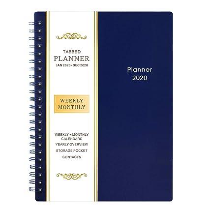 2020 Agenda - Planificador Semanal y Mensual, Cubierta Flexible, 12 Pestañas Mensuales, 21 Páginas de Notas, Encuadernación de Alambre Doble con ...