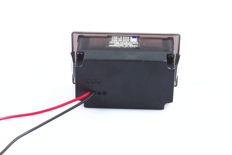 Waterproof Monitor 2-Wires DC 3.5-150v 12v 24v 36v 72v 96v Volt Battery Meter Voltage Tester Automative Electric Cars Gauge Small Digital Voltmeter BLUE 0.52'' LED Display by TOFKE (Image #6)